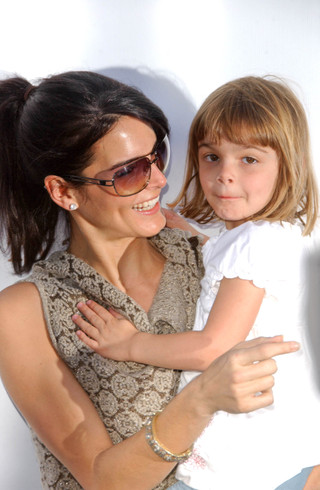 3/11/07: Actress/mom Angie Harmon with daughter Finley Faith (3).