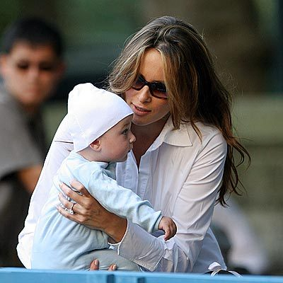 ... Knauss holds 6-month-old son Barron Trump , in Central Park on Monday